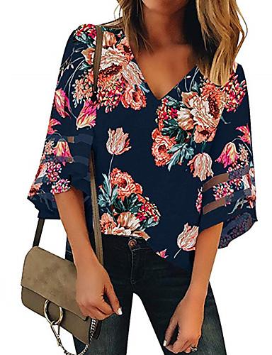 billige Topper til damer-Skjorte Dame - Blomstret, Lapper Gatemote Oransje US14 / UK18 / EU46