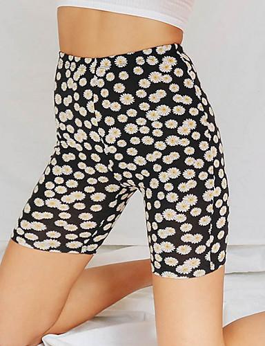 abordables Pantalons Femme-Femme Basique Short Pantalon - Fleur Blanche Noir S M L