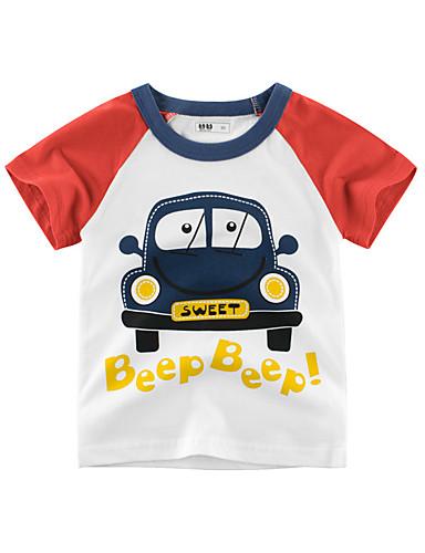 voordelige Uitverkoop-Kinderen Jongens Standaard Print Print Korte mouw Katoen T-shirt blauw