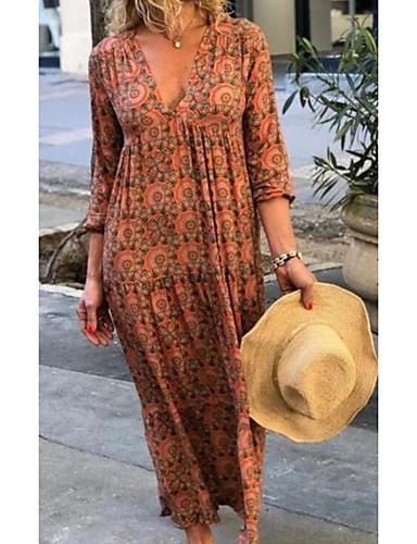 Kadın's Sokak Şıklığı Kombinezon Elbise - Geometrik, Desen Derin V Maksi / Salaş