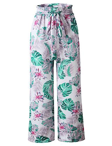 abordables Pantalons Femme-Femme Bohème Mince Ample Pantalon - Plantes Rouge Bleu Marine Gris M L XL