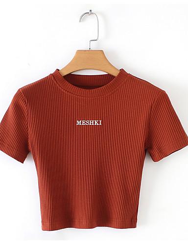 abordables Hauts pour Femmes-Tee-shirt Femme, Géométrique / Lettre - Coton Mince Rouge