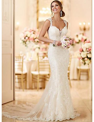 abordables robe mariage civil-Trompette / Sirène Col en V Traîne Brosse Dentelle Robes de mariée sur mesure avec par LAN TING BRIDE®