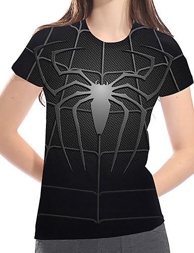 billige Topper til damer-T-skjorte Dame - Geometrisk / 3D / Dyr, Trykt mønster Grunnleggende / overdrevet Svart US14 / UK18 / EU46