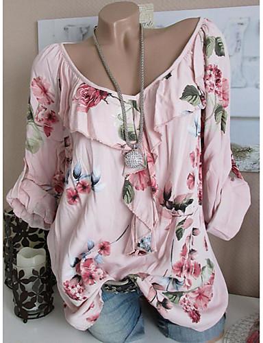 זול חולצות לנשים-פרחוני בסיסי חולצה - בגדי ריקוד נשים סרוג ורוד מסמיק US16