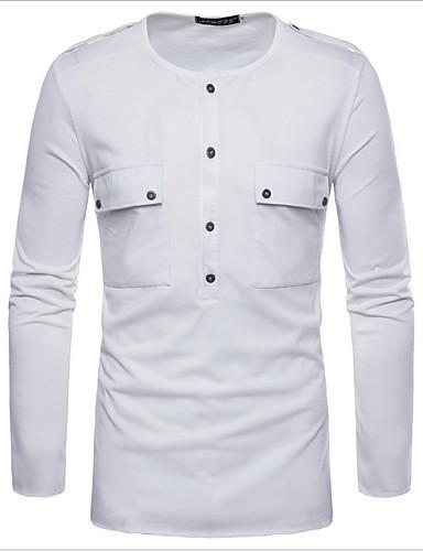 cheap Men's Shirts-Men's Daily Wear Basic Shirt - Solid Colored Patchwork White US38 / UK38 / EU46