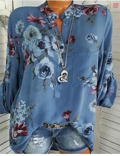 billige Dametopper-Skjortekrage Skjorte Dame - Blomstret, Lapper / Trykt mønster Grunnleggende Ut på byen Blå