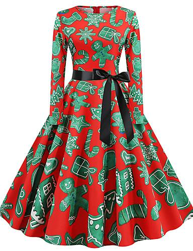 Kadın's Temel Çin Stili A Şekilli Çan Elbise - Zıt Renkli, Desen Diz-boyu