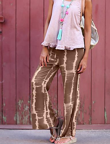 hesapli Kadın Pantolonl-Kadın's Temel Geniş Bacak Pantolon - Solid Siyah ve Beyaz, Bölünmüş İpek Kahverengi Gri Mor M L XL