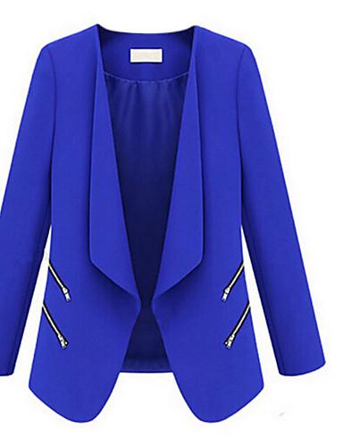 voordelige Damesblazers & jasjes-Dames Grote maten Blazer, Effen V-hals Polyester blauw / Wit