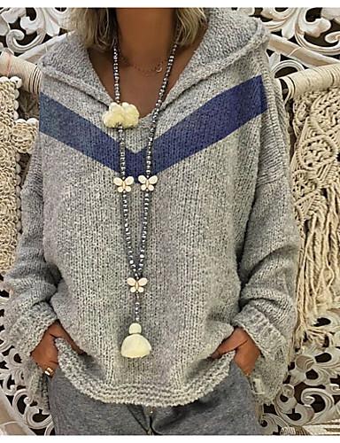 billige Dametopper-Dame Geometrisk Langermet Pullover, Med hette Gul / Rød / Grå S / M / L