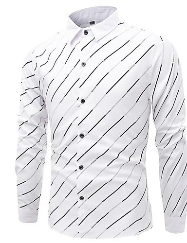 cheap Men's Shirts-Men's Casual Basic Shirt - Striped Print White US38 / UK38 / EU46
