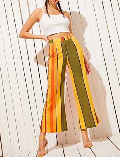 abordables Pantalons Femme-Femme Chic de Rue A Volants Pantalon - Ecossais / à Carreaux Jaune S M L