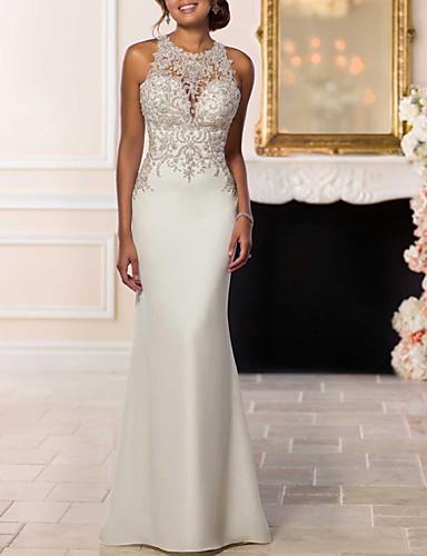 abordables robe mariage civil-Trompette / Sirène Licou Traîne Brosse Dentelle Robes de mariée sur mesure avec Billes par LAN TING Express