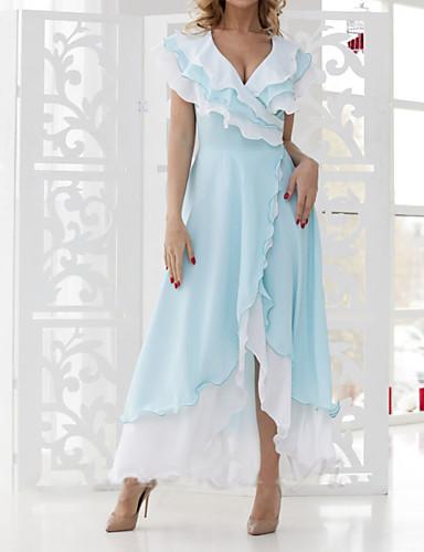 저렴한 여성용 의류-여성용 우아함 A 라인 드레스 - 솔리드, 레이스 맥시
