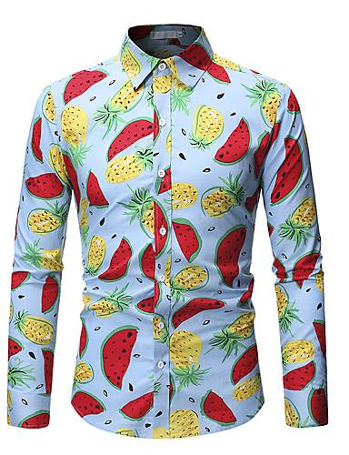 Erkek Gömlek Desen, Çiçekli / Geometrik / Grafik Vintage / Sokak Şıklığı Gökküşağı