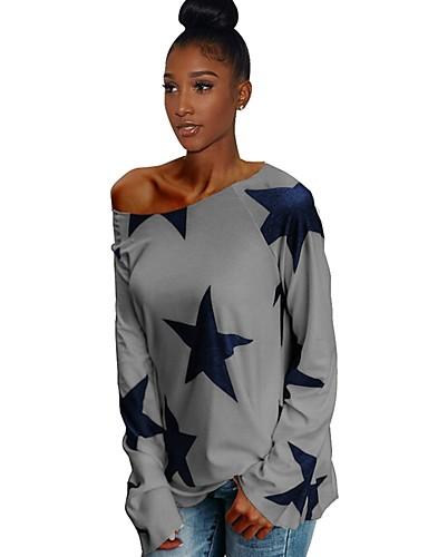 abordables Hauts pour Femme-Tee-shirt Femme, Graphique Dos Nu / Imprimé Basique Epaules Dénudées Ample Blanche
