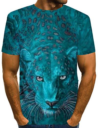 voordelige Heren T-shirts & tanktops-Heren Street chic Print EU / VS maat - T-shirt Club 3D / dier Ronde hals Geel / Korte mouw