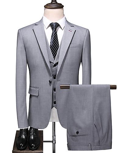 hesapli Damat ve Sağdıç-Gri Solid Standart Kalıp Polyester Takım elbise - Çentik Tek Sıra Düğmeli Bir Düğme
