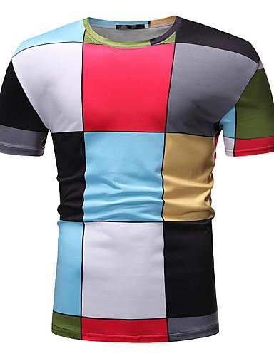 billige T-shirts og undertrøjer til herrer-Rund hals Herre - Farveblok / Bogstaver Basale EU / US størrelse T-shirt Regnbue / Kortærmet
