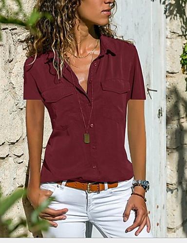 billige Topper til damer-Løstsittende Skjortekrage Skjorte Dame - Ensfarget Svart