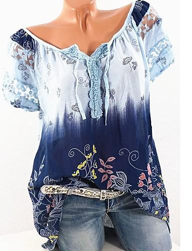 billige Dametopper-Løstsittende V-hals T-skjorte Dame - Blomstret, Blonde / Blondér / Lapper Gatemote Svart & Rød Rød / Trykt mønster