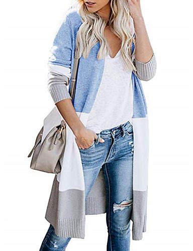 povoljno Ženske majice-Žene Color block Dugih rukava Kardigan, Ovratnika Blushing Pink / žuta / Crn S / M / L