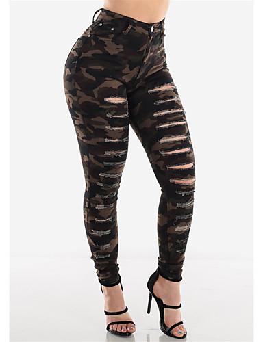 abordables Pantalons Femme-Femme Militaire Chino Pantalon - Camouflage Découpé Marron S M L