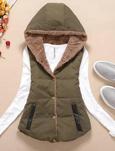 voordelige Dames donsjassen & parka's-Dames Effen Normaal Vest, Polyester Oranje / Leger Groen / Geel M / L / XL