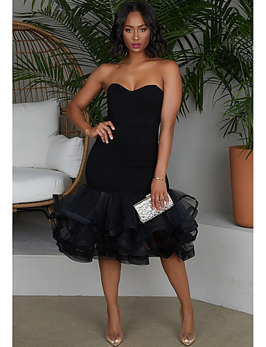 Kadın's Bandaj Elbise - Solid, Fırfırlı Diz-boyu