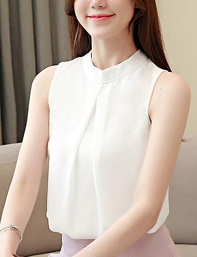 abordables Hauts pour Femme-Tee-shirt Femme, Couleur Pleine Dos Nu Business / Basique Blanche