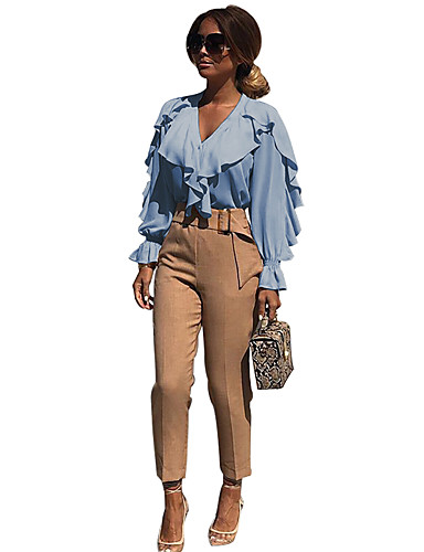 abordables Hauts pour Femmes-Chemise Femme, Couleur Pleine Plissé / Mosaïque Business / Basique Blanc / Bleu Blanche