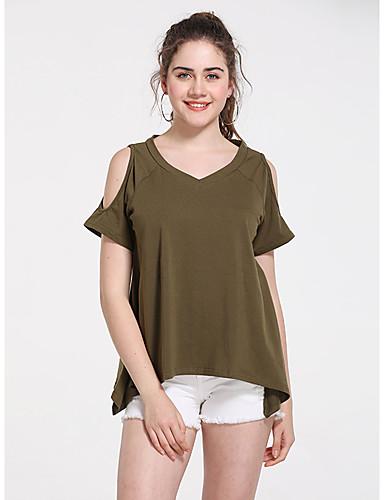 billige Topper til damer-T-skjorte Dame - Ensfarget, Utskjæring Grunnleggende Militærgrønn
