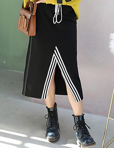 abordables Jupes-Femme Basique Crochet Jupes - Bloc de Couleur Noir Bleu Rouge L XL XXL