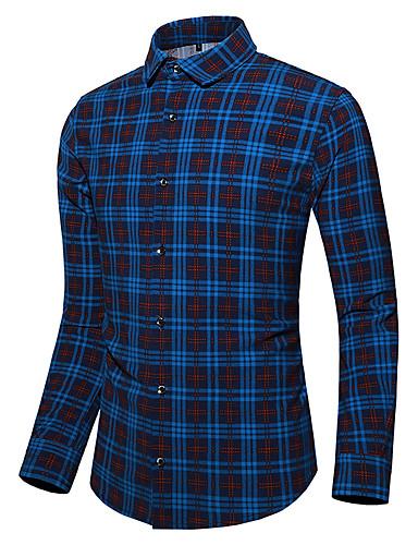 Erkek Gömlek Kareli Koyu Mavi