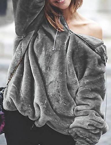 billige Ytterklær til damer-Dame Daglig Høst vinter Normal Frakk, Ensfarget Med hette Langermet Polyester Vin / Fuksia / Brun S / M / L