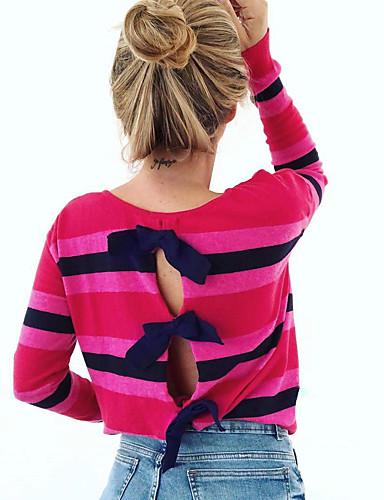 billige Topper til damer-Bluse Dame - Stripet / Regnbue, Lapper Grunnleggende / Gatemote Regnbue