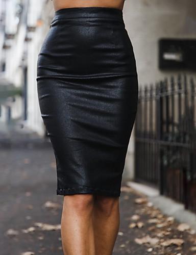 Kadın's Seksi PU Bandaj Etekler - Solid Bölünmüş Siyah Gri Şarap M L XL / İnce