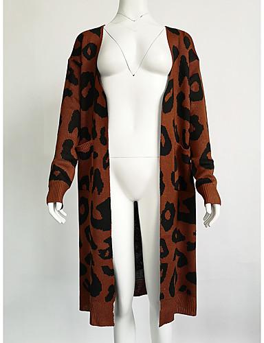 billige Dametopper-Dame Leopard Langermet Cardigan, V-hals / Aftæpning Høst / Vinter Svart / Rosa / Militærgrønn S / M / L