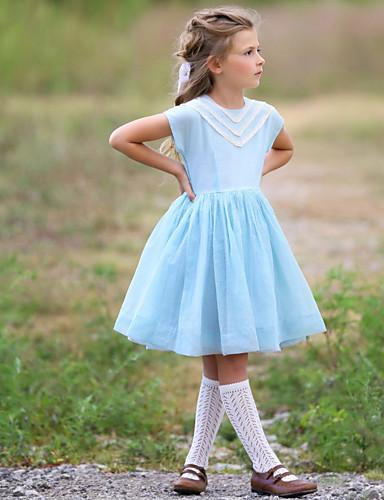 povoljno Pretprodaja-Djeca Djevojčice Prugasti uzorak Do koljena Haljina Svjetloplav