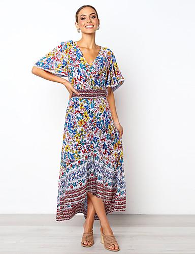 voordelige Maxi-jurken-Dames Standaard Boho A-lijn Wijd uitlopend Jurk - Bloemen Kleurenblok Tribal, Geplooid Split Print Maxi Wit Rood