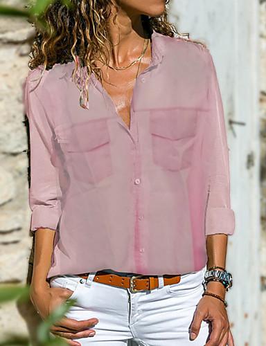 povoljno Majica-Veći konfekcijski brojevi Majica Žene - Osnovni Dnevno Jednobojni Kragna košulje Sive boje