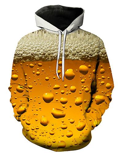 hesapli Erkek Kapşonluları ve Svetşörtleri-Erkek Günlük / Sokak Şıklığı Kapşonlu Kapüşonlu Giyecek - Zıt Renkli / 3D