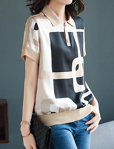 billige Dametopper-Skjorte Dame - Geometrisk, Trykt mønster Grunnleggende Rosa