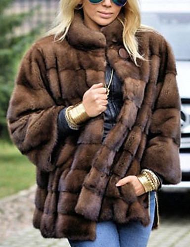 رخيصةأون فرو نسائي و جلد-نسائي مناسب للبس اليومي أساسي عادية معطف من الفرو الصناعي, لون سادة مرتفعة كم طويل فرو بني
