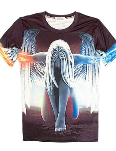 voordelige Heren T-shirts & tanktops-Heren Standaard Print T-shirt Portret Ronde hals Zwart / Korte mouw / Zomer