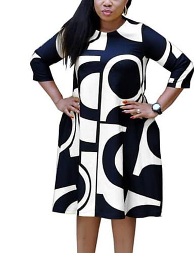 voordelige Grote maten jurken-Dames Street chic Verfijnd Recht Wijd uitlopend Jurk - Ruitjes Letter Midi