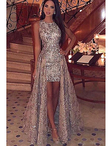cheap Especially On Halloween-Women's Elegant & Luxurious Maxi Bodycon Dress - Lace Printing Sequins Gold S M L XL / Slim