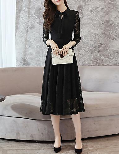 Kadın's Zarif Çan Elbise - Solid, Şalter Bağcık Midi