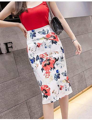 abordables Jupes-Femme Moulante Jupes - Fleur Imprimé Rouge S M L